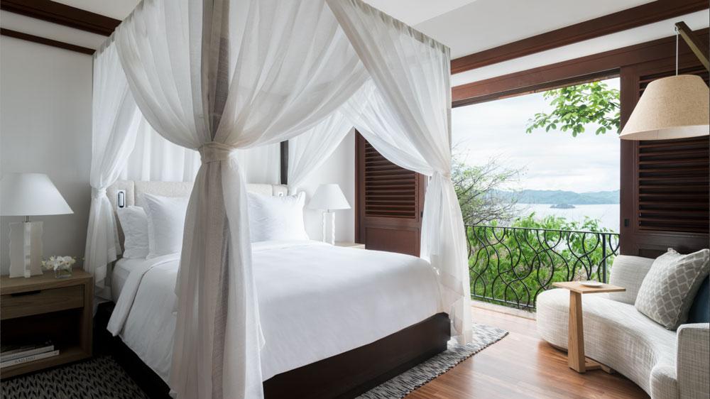 master bedroom at the Four Seasons Costa Rica at Peninsula Papagayo.