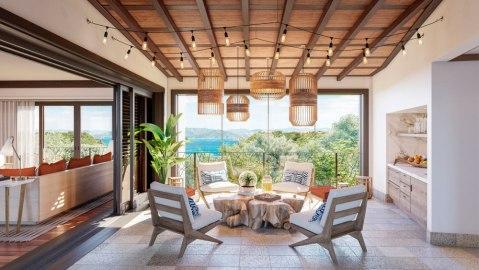 Four Seasons Costa Rica at Peninsula Papagayo. patio overlooking the ocean
