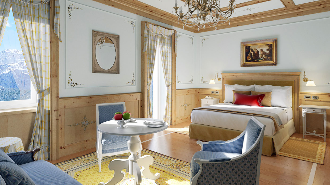 Bedroom with blue chairs and yellow accents