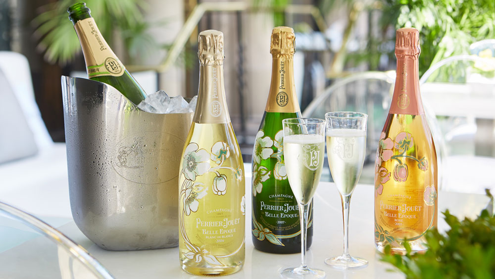 bottles of Perrier-Jouet Champage