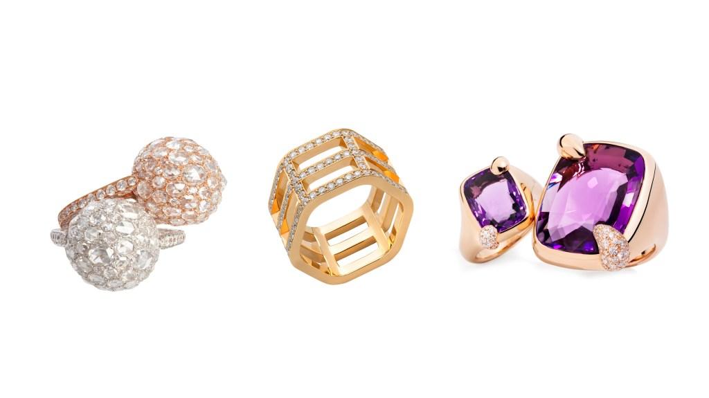three designer rings on display
