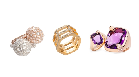 three designer rings on display