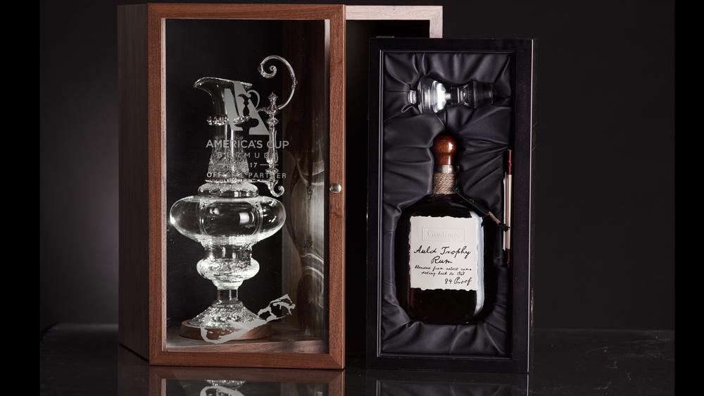 Goslings rum bottle in case