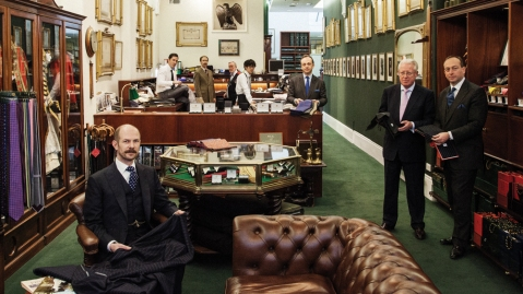 Henry Poole's Simon Cundey at the store, tailoring clothing