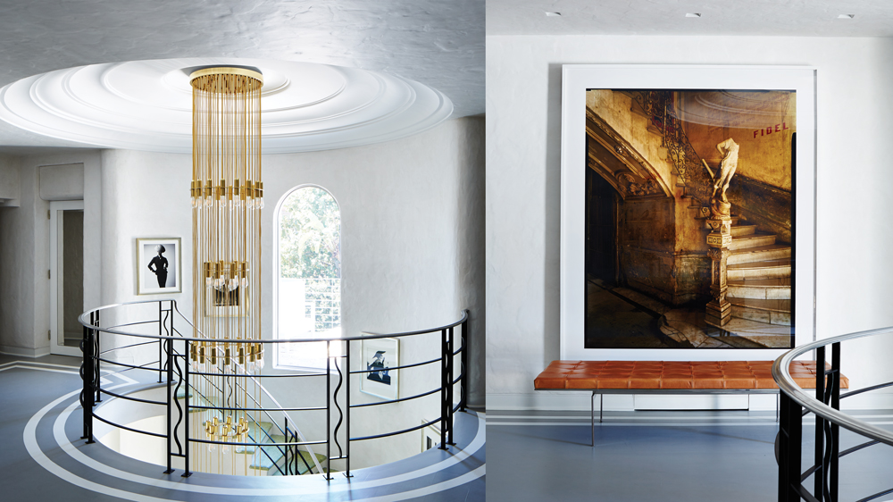 interior of palm beach home with staircase and artwork by Andrew Moore