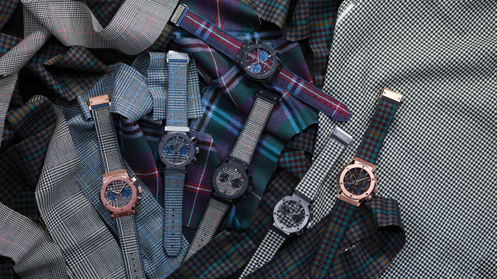 Hublot clothes its new collaborative collection in Rubinacci fabri shown here with a variety of plaid watch straps