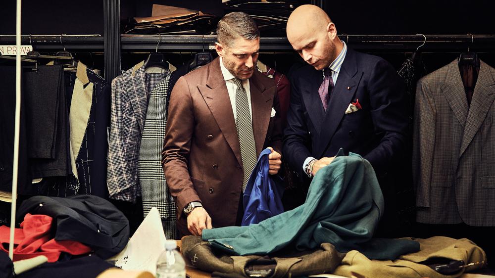 Limited-edition watches showcase fabrics chosen by Lapo Elkann (left) and Luca Rubinacci.