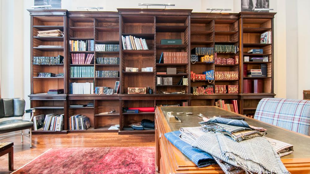 interior and bookshelf of Huntsman New York