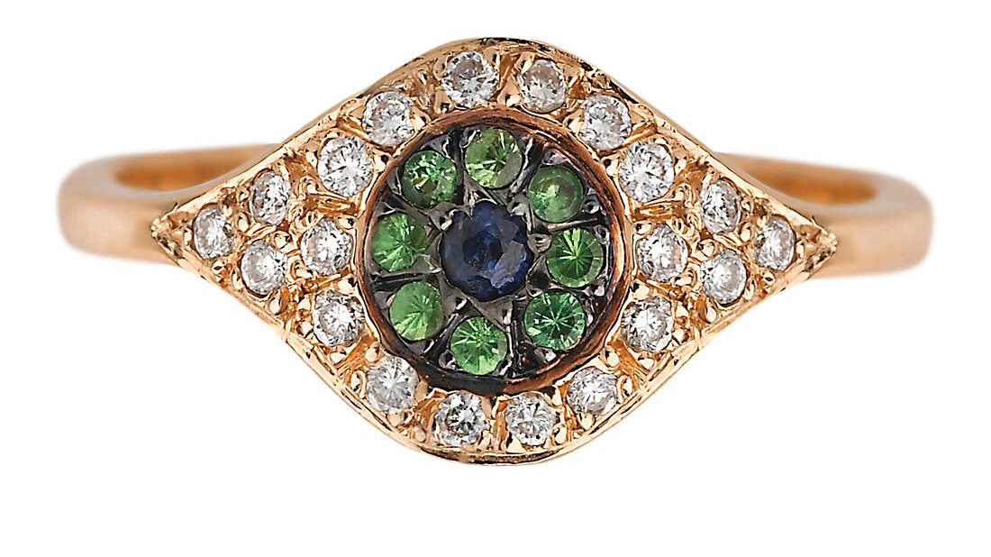 Gold ring with diamonds and gems