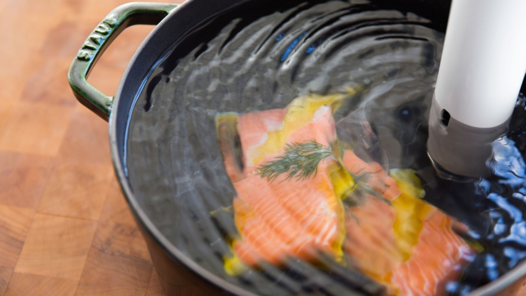salmon filets cooked with sous vide wand by chefsteps
