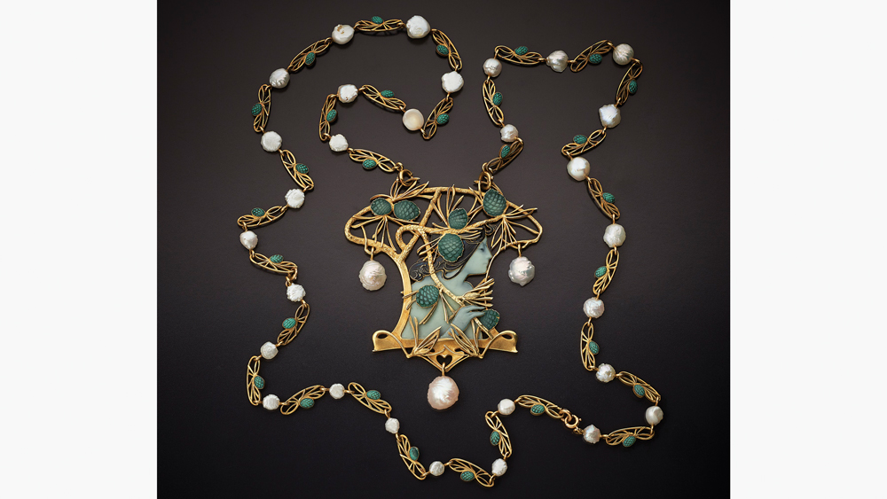 Lalique necklace of gold, enamel, and glass