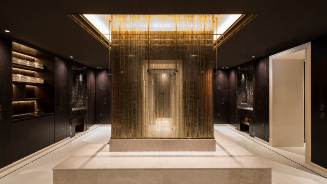 The men's changing room at the Lanesborough Club and Spa in London