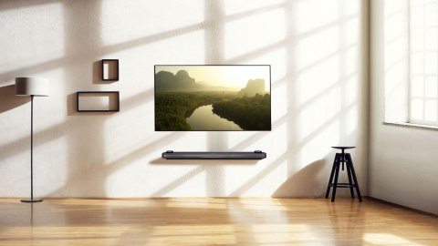 LG Signature OLED 77W7 on wall in living room