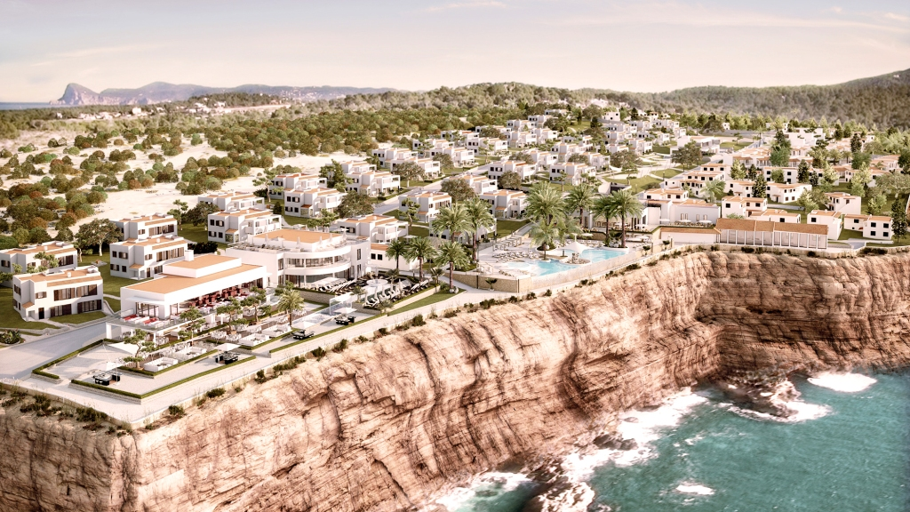Aerial view of Seven Pines Resort Ibizia