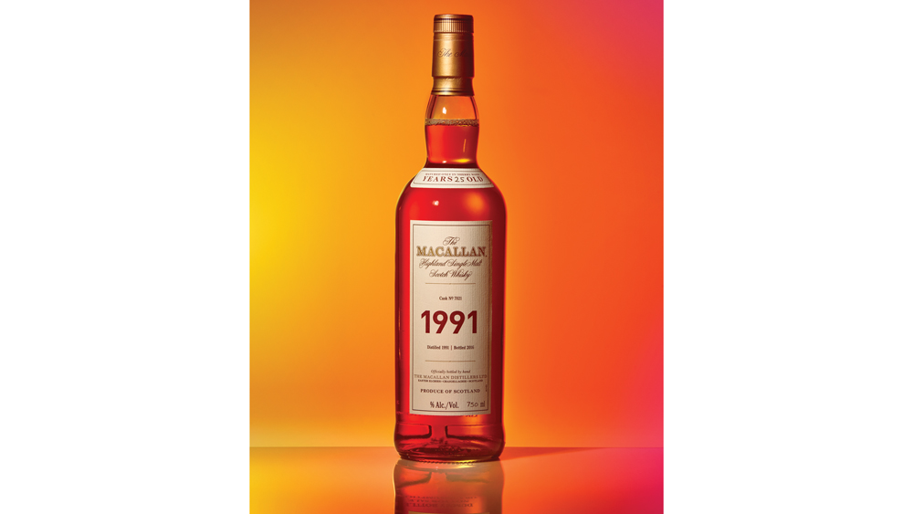 a bottle of Macallan 1991 Fine and Rare
