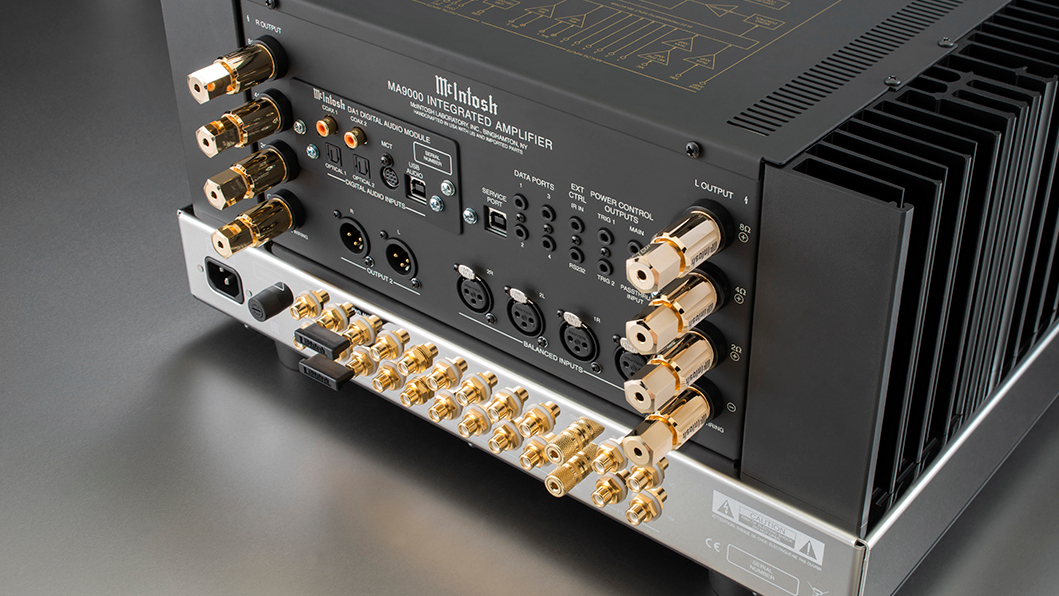 Back view of the McIntosh MA9000 integrated amp