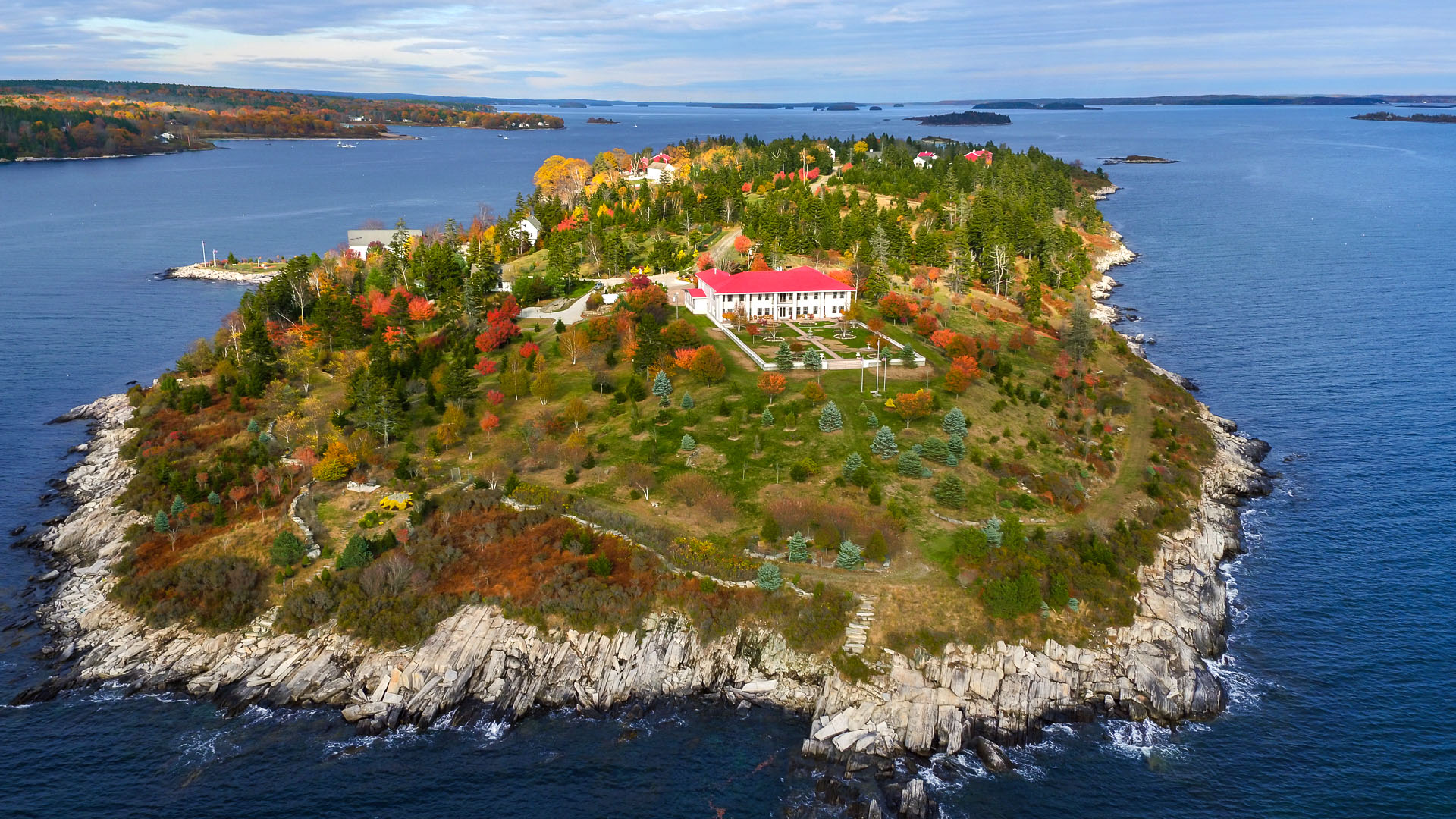 Hope Island Maine estate aerial view of the main house