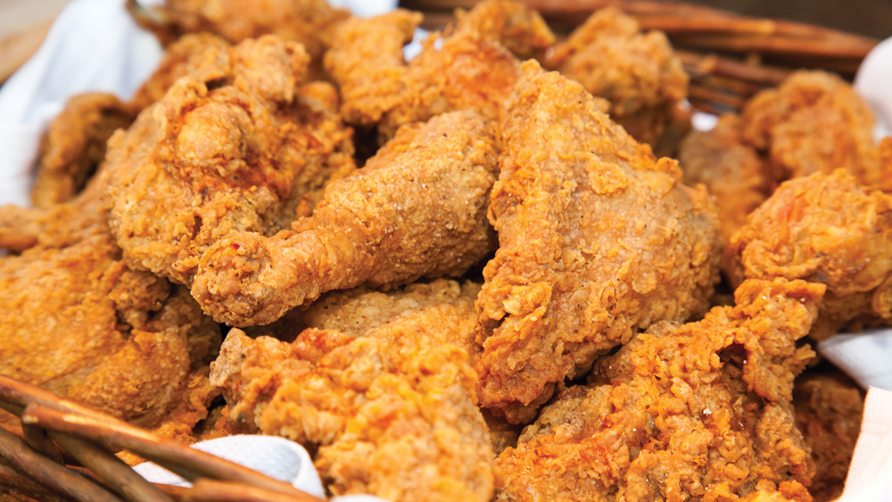 a close-up of fried chicken