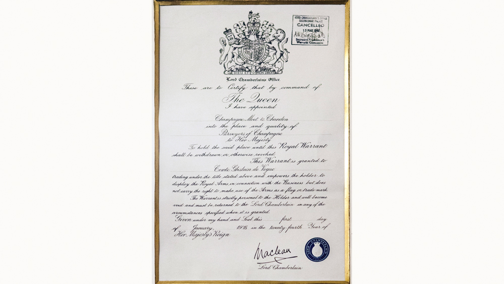 Moet chandon receipt from the royal family