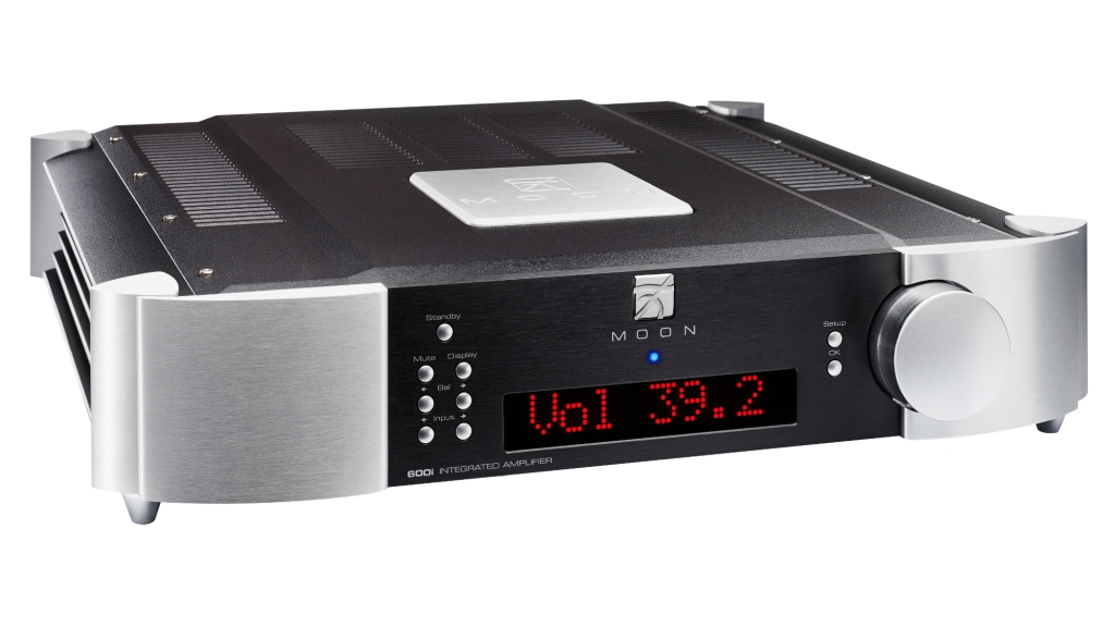 Simaudio Moon 600i with two-tone black and silver finish against a white background