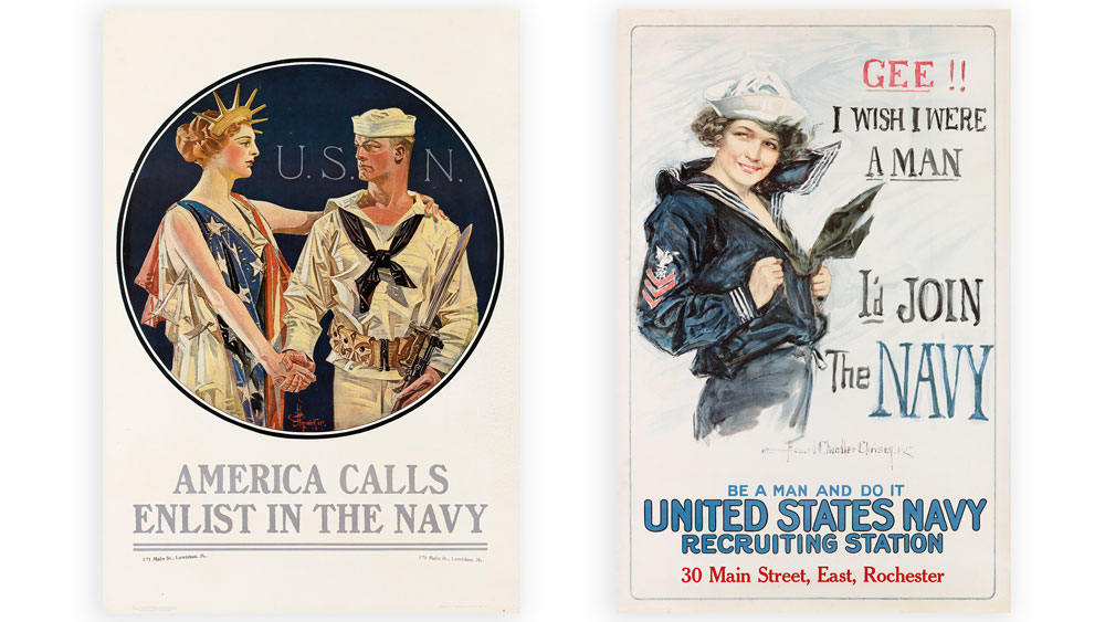 WWI navy posters in color featuring slogans to recruit young men