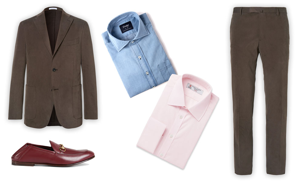 Buglioli jacket and trousers, Drake's denim shirt, turnbull and asset pink shirt, gucci leather loafers