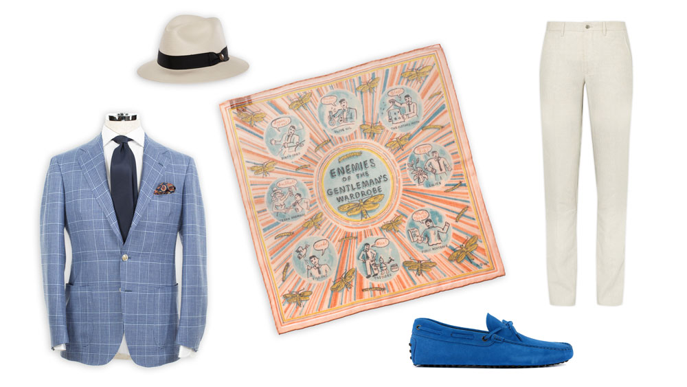 Goorin Bros God Father Panama Hat, Drake's Pocket Square, Rubinacci Linen Trousers Tod's Gommino Driving Shoes, Ring Jacket Sport Coat