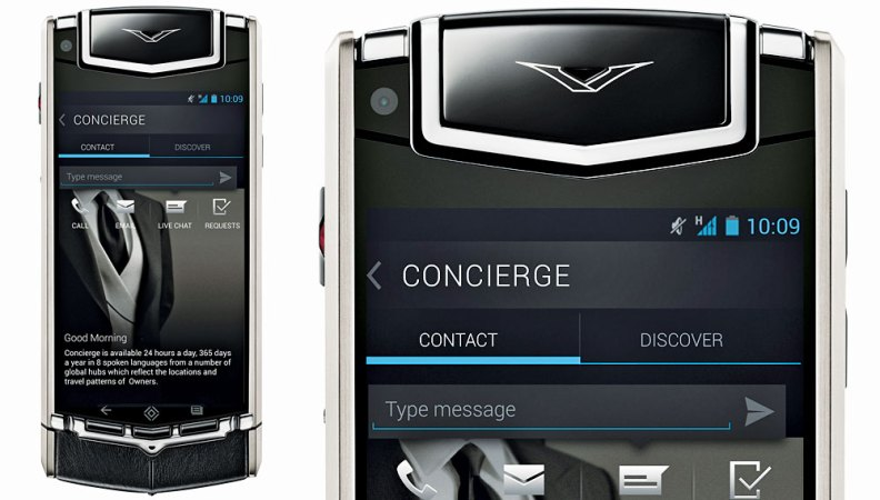 Vertu Constellation with close up of concierge screen