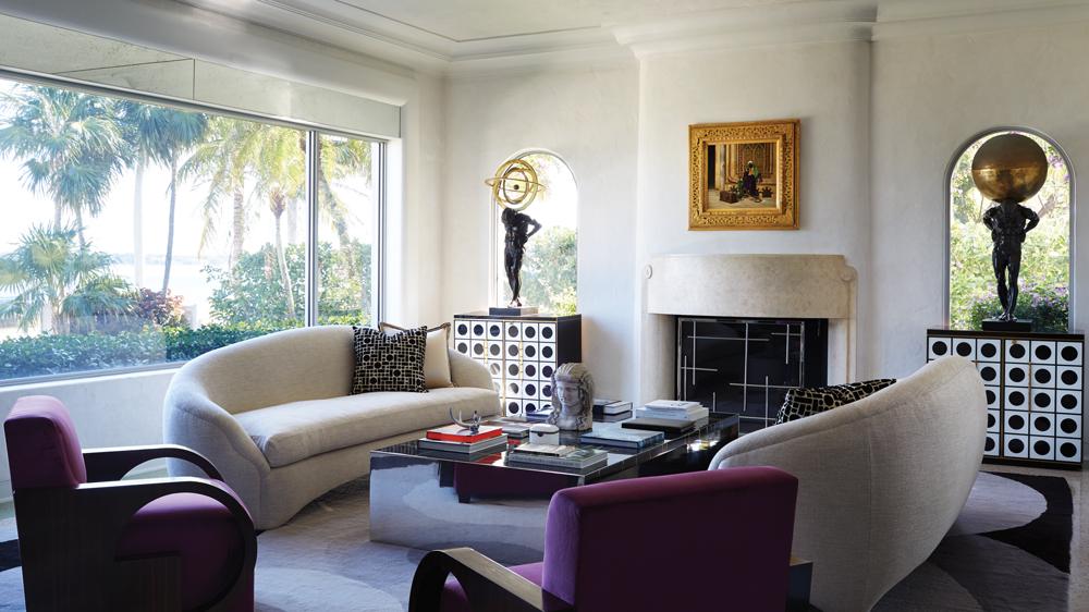 living room in palm beach home with italian art deco furnishings