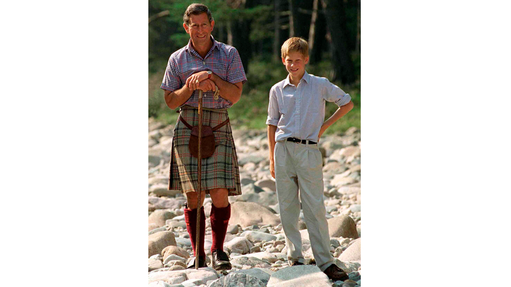 Prince Charles and Prince Harry in his Kinloch Anderson kilt