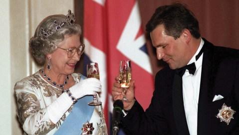 queen Elizabeth drinking champagne