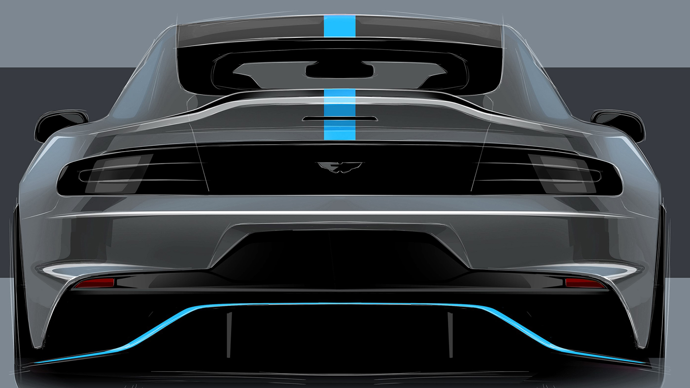 A rear-view rendering of the Aston Martin RapidE.