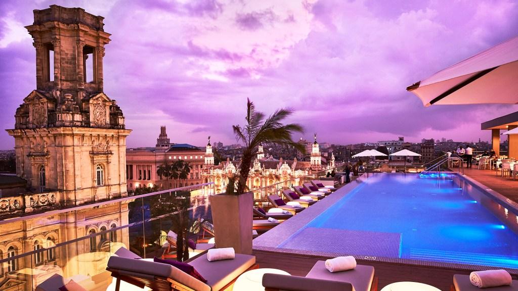 Rooftop pool and bar at Gran Hotel Manzana Kempinski La Habana Cuba
