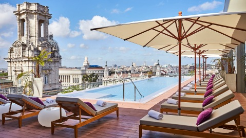 Rooftop pool at the Gran Hotel Manzana Kempinski La Habana Cuba