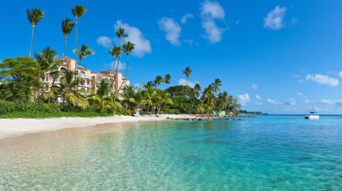 Hotel overlooking the water in Barbados