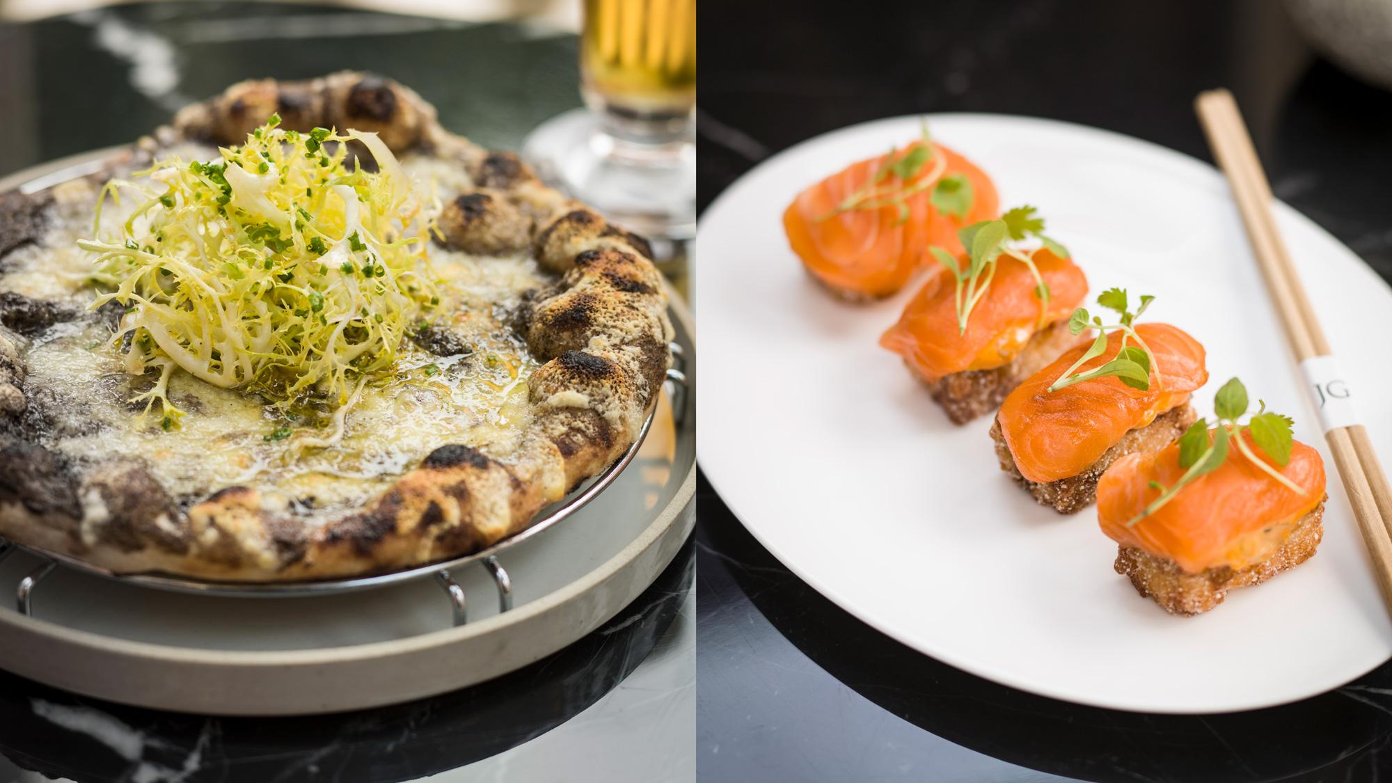 truffle and fontina pizza and tuna sushi