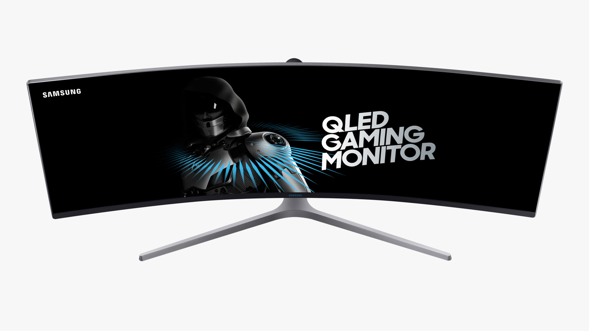 49-inch, curved Samsung QLED Gaming Monitor on white