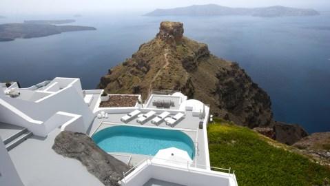 The Villa at Grace Santorini terrace overlooking ocean