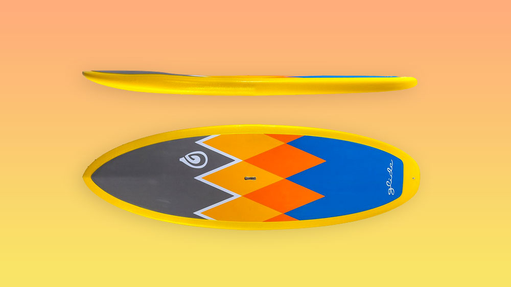 Glide Lochs paddle board top and side view
