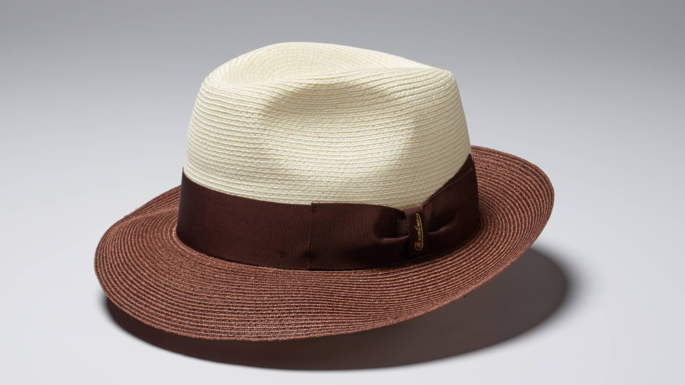 Borsalino Hat in cream and brown