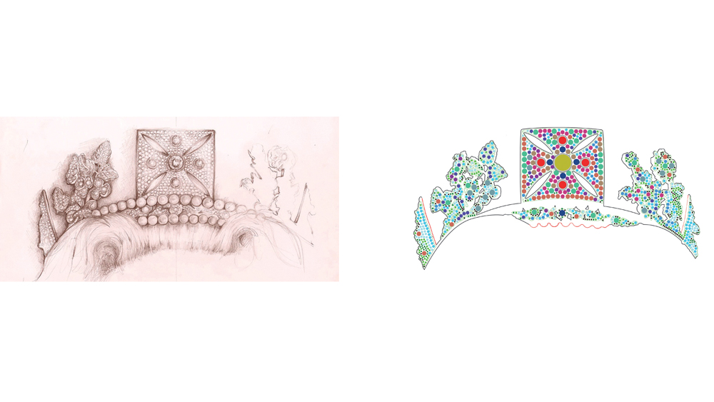 sketches of the royal crown on paper