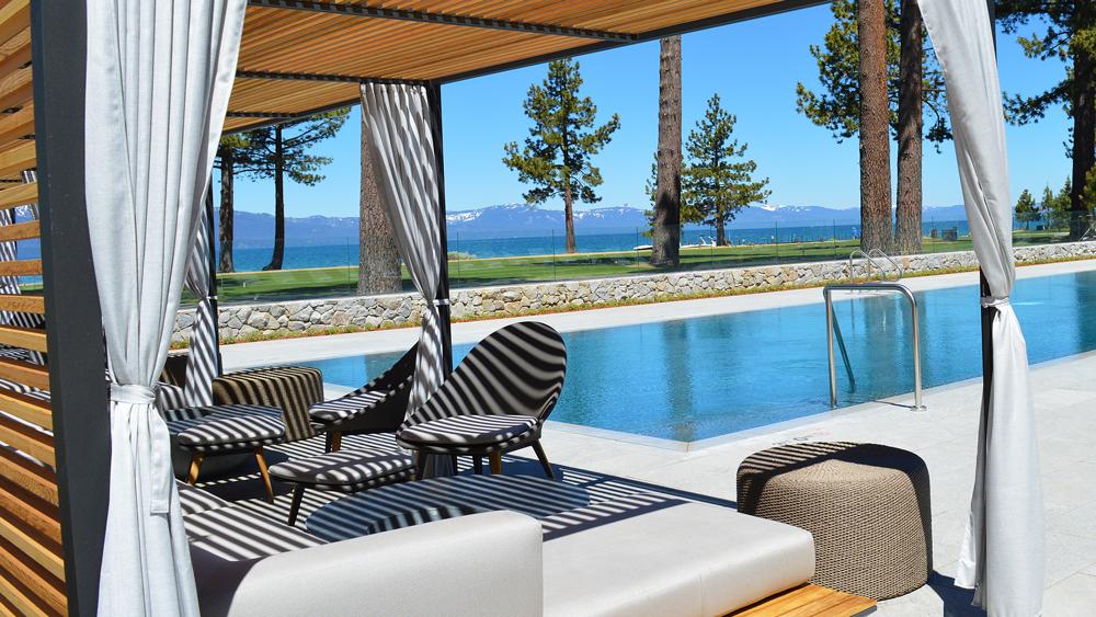 Lake Tahoe Pool cabanas and the pool