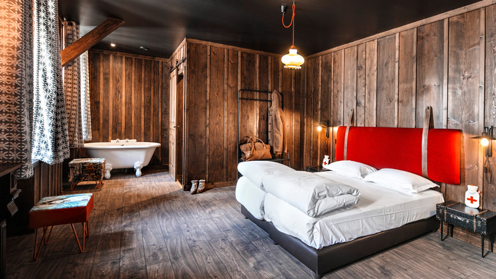 interior of cabin bedrooms at terminal niege in france