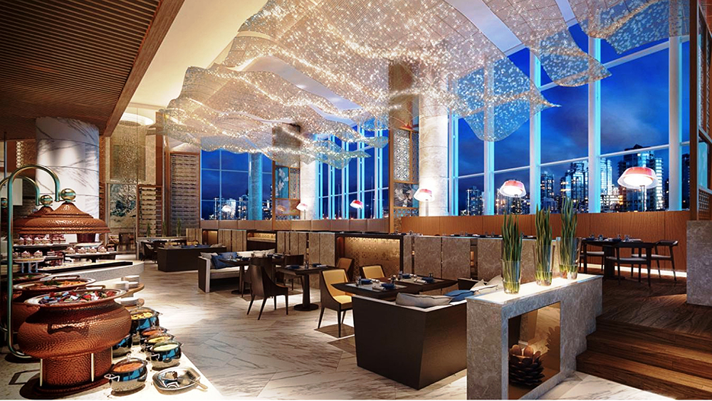 Restaurant with brown furnishings and a blanket of white lights on the ceiling