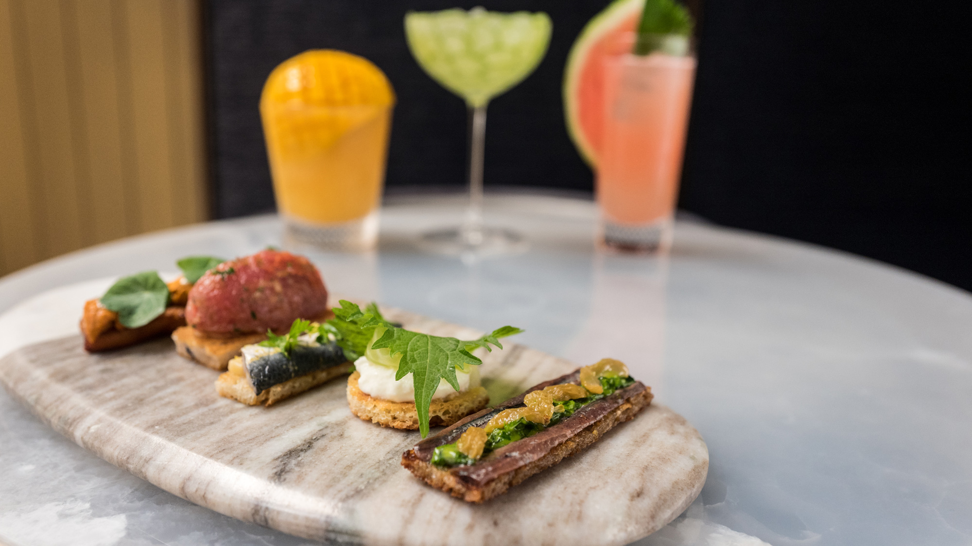 seafood on toasts by Rich Torrisi at The Pool