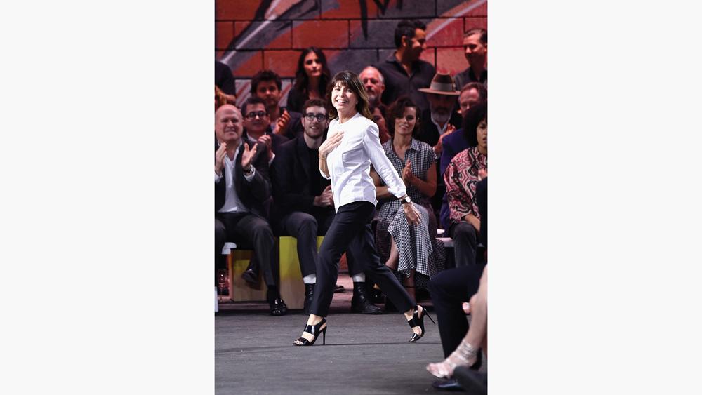 véronique nichanian walking at an Hermes runway show