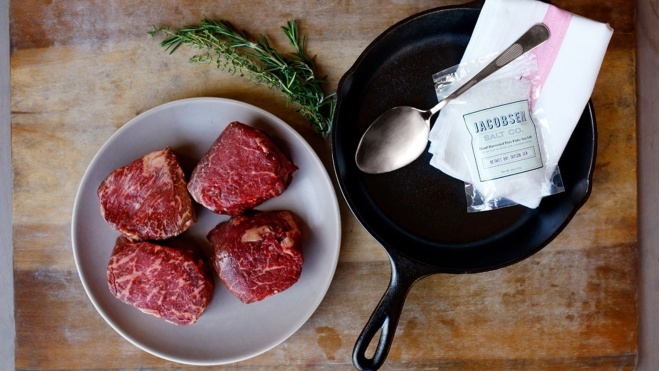 wagyu filet mignon steaks with cast iron pan and sea salt