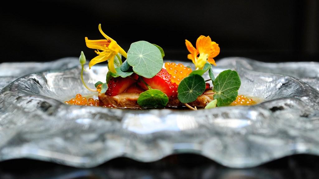 pork belly, trout roe, nasturtium, strawberry sambal