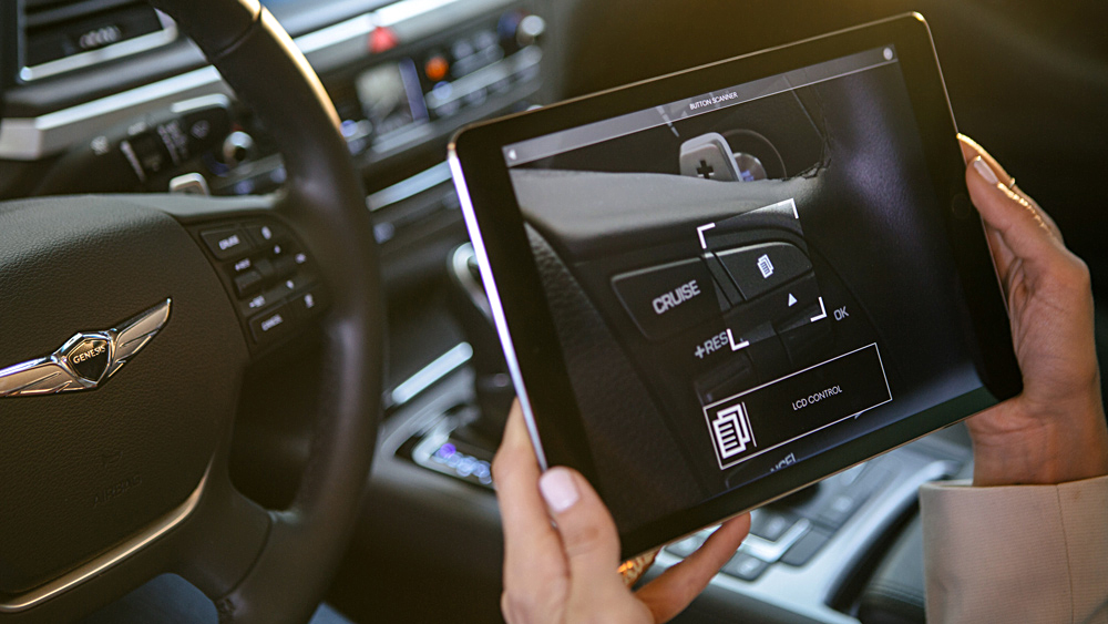 Genesis Virtual Guide augmented reality on a tablet