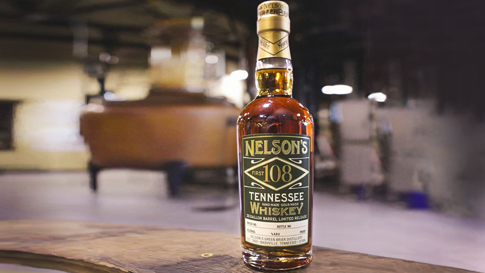bottle of First 108 Tennessee whiskey from Nelson's Green Brier Distillery in Nashville Tennessee